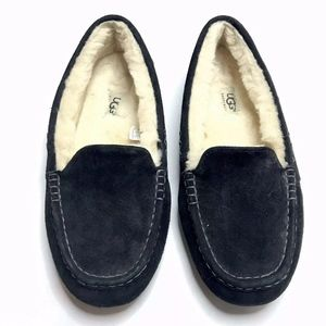 UGG Ansley Moccasins Slip On Shoes Black Suede